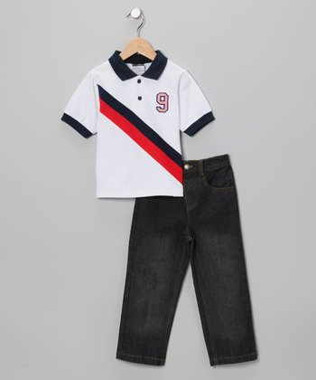 Red & Black Diagonal Stripe Polo & Jeans