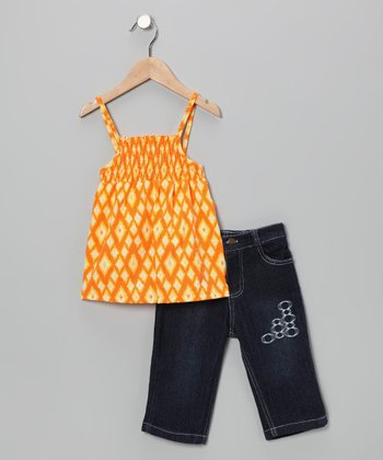 Orange Diamond Tank & Capri Jeans - Infant & Toddler
