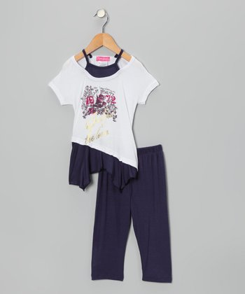 Black '1972' Layered Tunic & Leggings - Infant, Toddler & Girls