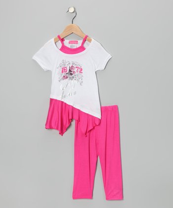 Pink '1972' Layered Tunic & Leggings - Infant, Toddler & Girls