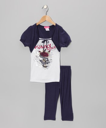 Navy Faux Shrug Tunic & Leggings - Infant, Toddler & Girls