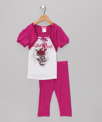 Pink Faux Shrug Tunic & Leggings - Infant, Toddler & Girls