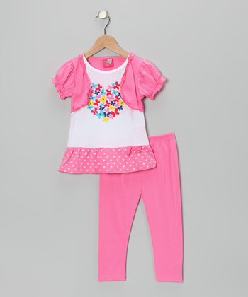 Light Pink Faux Shrug Top & Leggings - Infant, Toddler & Girls