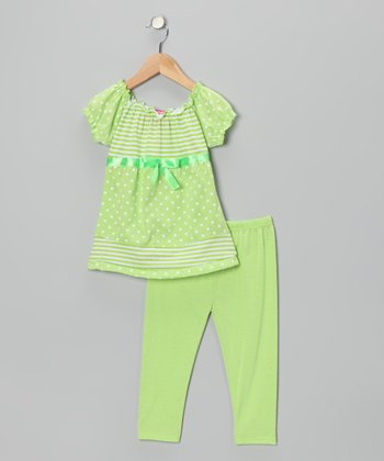 Lime Polka Dot Bow Tunic & Leggings - Infant