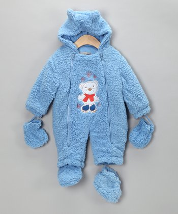 Blue Skating Bear Sherpa Bunting