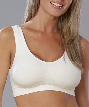 Ivory Seamless Wireless Wide-Strap Bra - Women