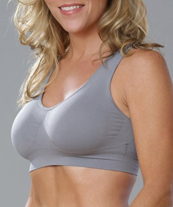 Medium Gray Seamless Wide-Strap Bra