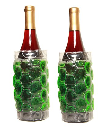 Green Insulated Beverage Bottle Wrap - Set of Two