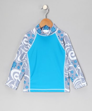 Turquoise Pinwheel Long-Sleeve Rashguard - Toddler