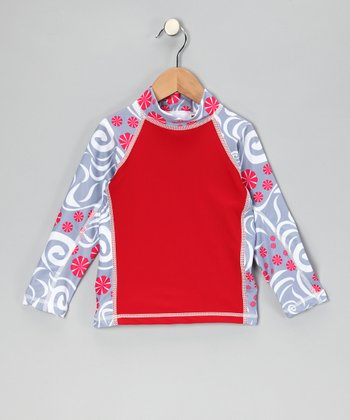 Red Pinwheel Long-Sleeve Rashguard - Kids