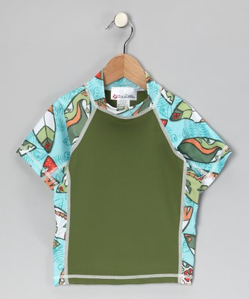 Olive Fishtail Short-Sleeve Rashguard - Kids