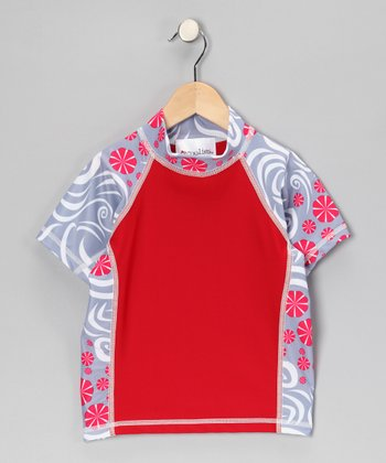 Red Pinwheel Short-Sleeve Rashguard - Kids