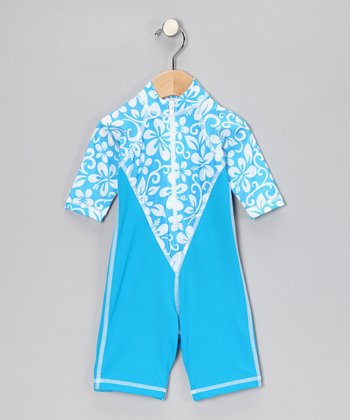 Turquoise Honolulu One-Piece Rashguard - Infant