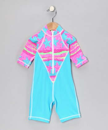 Turquoise Starry Fish One-Piece Rashguard - Infant