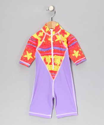 Lavender Starry Fish One-Piece Rashguard - Infant
