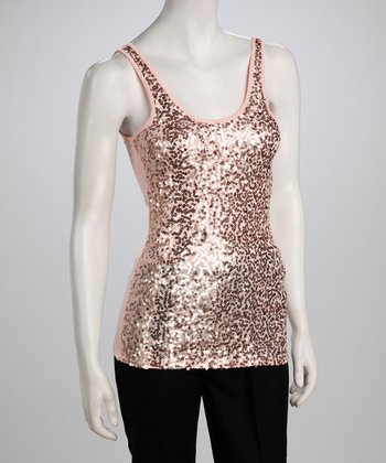 Blush Sleeveless Sequin Top
