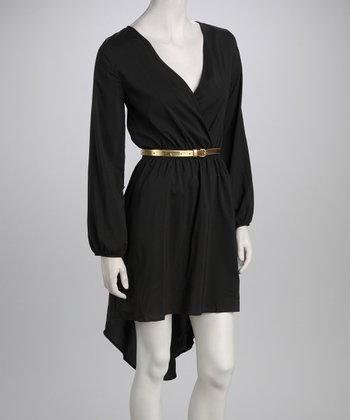 Black & Gold Belted Dress