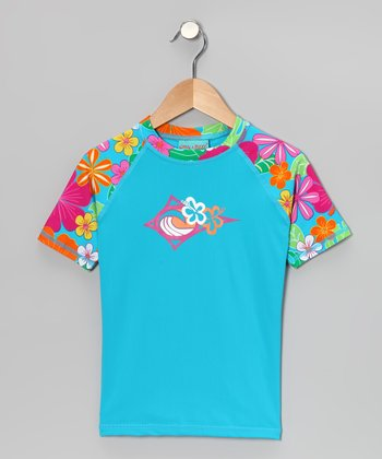 Azure & Summer Fun Sea Maid Rashguard - Girls