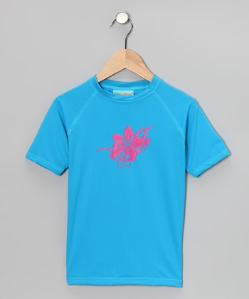 Azure Blue Kona Rashguard - Girls
