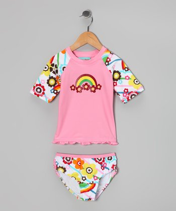 Pink & Rainbow Candy Princess Rashguard Set - Toddler