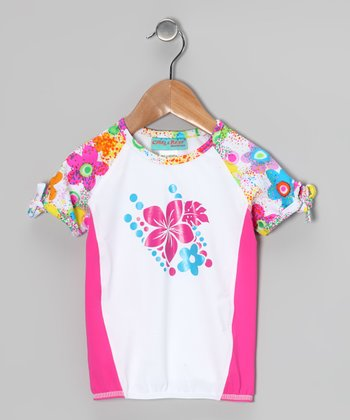 White & Water Flower Twisty Rashguard - Toddler