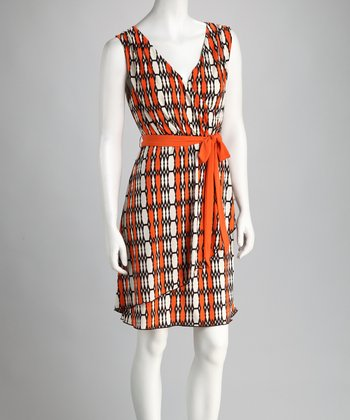Orange & Cream Surplice Dress