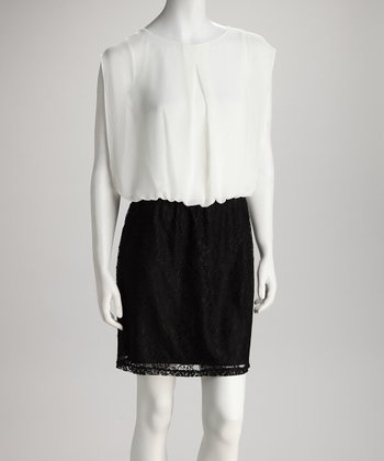 Ivory & Black Lace Chiffon Dress