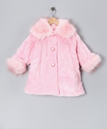 Pink Faux Fur Sweet Pea Coat - Infant, Toddler & Girls