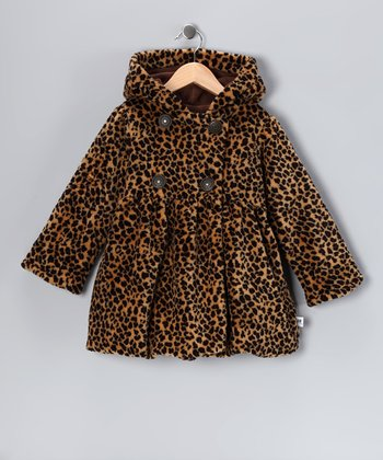 Brown Leopard Mary-Jayne Bubble Coat - Toddler & Girls