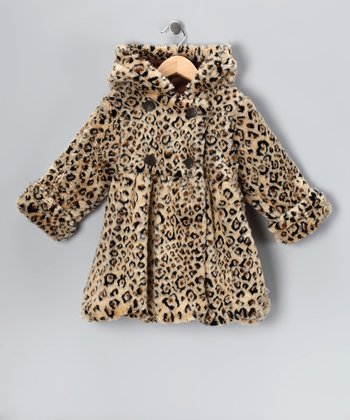 Leopard Faux Fur Mary-Jayne Bubble Coat - Toddler & Girls