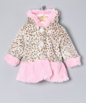 Snow Leopard Faux Fur Swing Coat - Infant & Toddler