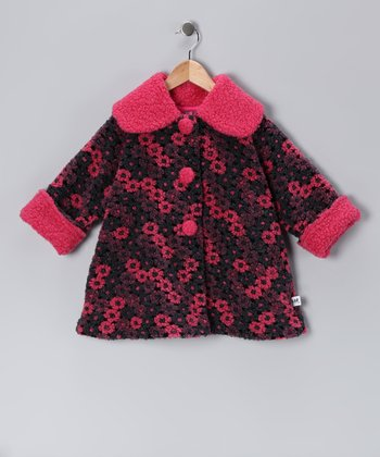 Navy Nana Flower Sweet Pea Coat - Infant, Toddler & Girls