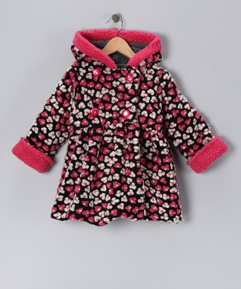 Black & Pink Floral Mary-Jayne Bubble Coat - Toddler & Girls