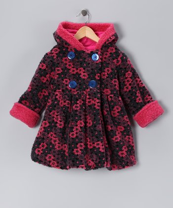 Navy Nana Flower Mary-Jayne Bubble Coat - Toddler & Girls