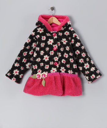 Black & Pink Lola Split Swing Coat - Infant & Toddler