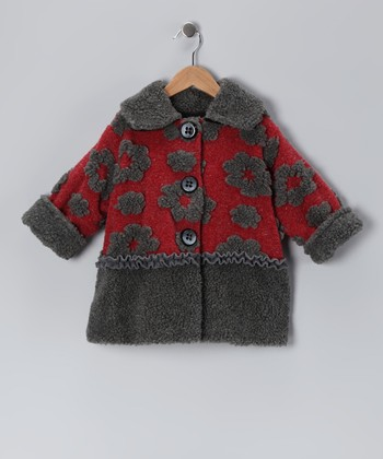 Crimson Floral Split Sweet Pea Coat - Infant, Toddler & Girls