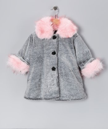 Gray & Pink Faux Fur Sweet Pea Coat - Toddler & Girls