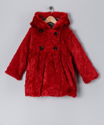 Garnet Faux Fur Mary-Jayne Bubble Coat - Toddler & Girls