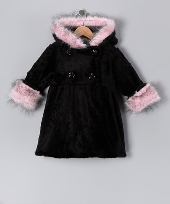 Black & Pink Faux Fur Mary-Jayne Coat - Toddler & Girls