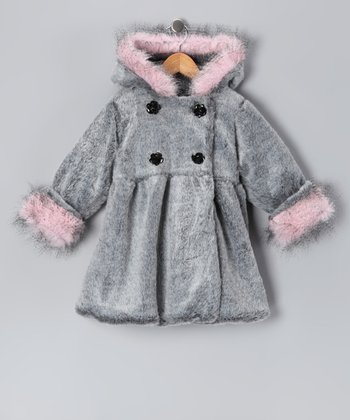 Gray & Pink Faux Fur Mary-Jayne Coat - Toddler & Girls