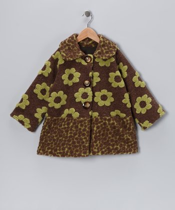 Brown & Green Split Sweet Pea Coat - Infant, Toddler & Girls
