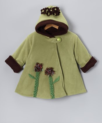 Olive Flower Wrap Swing Coat - Toddler & Girls