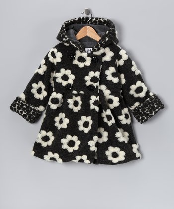 Black & White Floral Mary-Jayne Bubble Coat - Toddler & Girls