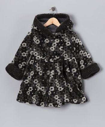 Black & White Nana Daisy Mary-Jayne Bubble Coat - Toddler & Girls