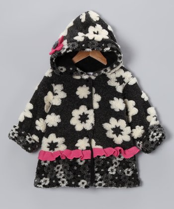 Black & White Floral Split Swing Coat - Toddler & Girls
