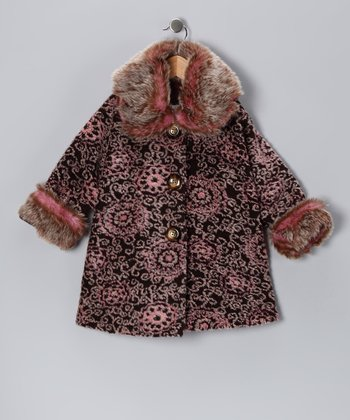 Brown & Pink Afghan Sweet Pea Coat - Toddler & Girls