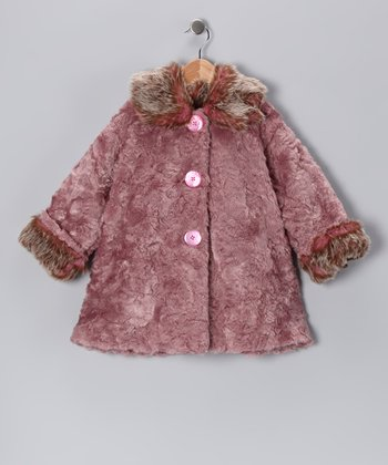 Rose Faux Fur Sweet Pea Coat - Infant & Toddler