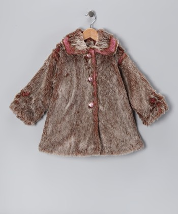 Brown & Rose Faux Fur Sweet Pea Coat - Toddler & Girls
