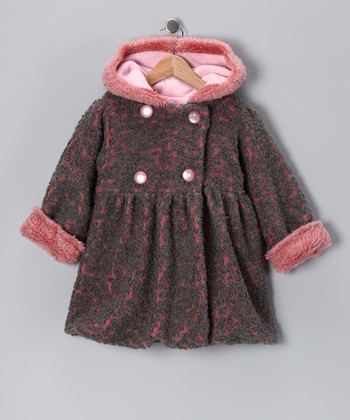 Pink & Charcoal Mary-Jayne Bubble Coat - Toddler