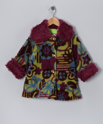 Green & Purple Floral Sweet Pea Coat - Infant, Toddler & Girls